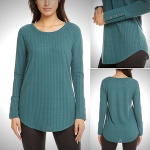 Chaser Teal Waffle Knit Sweater Tunic Top